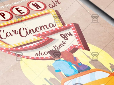 Open Air Car Cinema - Flyer PSD Template open air cinema