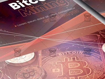 Bitcoin Mining - Flyer PSD Template digital wallet flyer digital wallet flyer