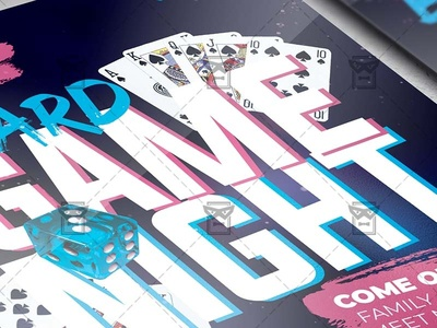 Board Game Night - Flyer PSD Template together at home