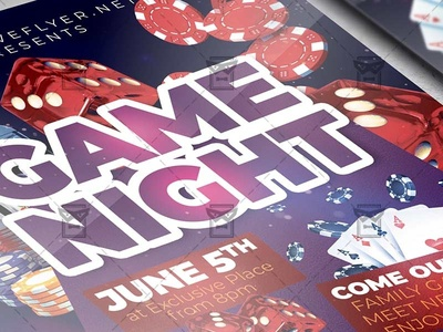 Game Night - Flyer PSD Template together at home