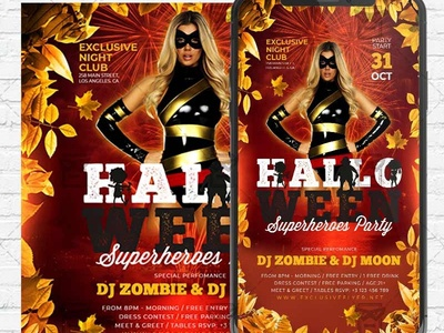 Halloween Superheroes Party - PSD Templates for Instagram superheroes party