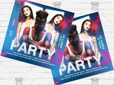 Party On - Flyer PSD Template party on flyer party on party flyer online party online dj battle online dj live show live party instagram party instagram flyer facebook party