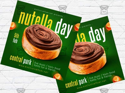 Nutella Day - Flyer PSD Template world nutella day nutella party nutella flyer nutella event nutella day flyer nutella day instagram flyer facebook flyer chocolate party flyer chocolate night chocolate event