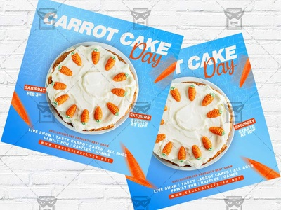 National Carrot Cake Day - Flyer PSD Template national carrot cake day carrot cake flyer carrot cake day flyer carrot cake cakes event cake