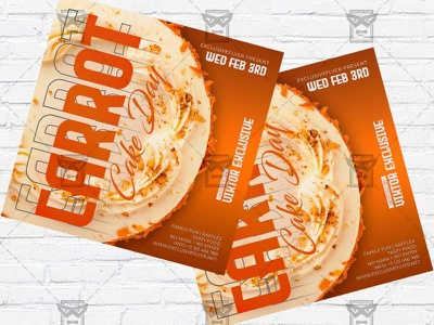 Carrot Cake Day - Flyer PSD Template national carrot cake day carrot cake flyer carrot cake day flyer carrot cake cakes event cake