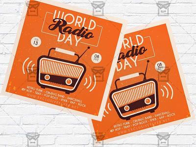 Radio Day - Flyer PSD Template world radio day radio show radio party instagram flyer facebook flyer