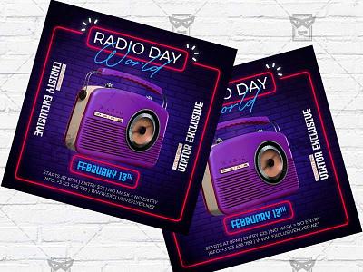 World Radio Day - Flyer PSD Template world radio day radio show radio party instagram flyer facebook flyer