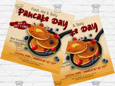 Pancake Day Celebration - Flyer PSD Template pancakes event pancakes day celebration pancake flyer pancake day maslenitsa flyer maslenitsa day instagram flyer facebook flyer
