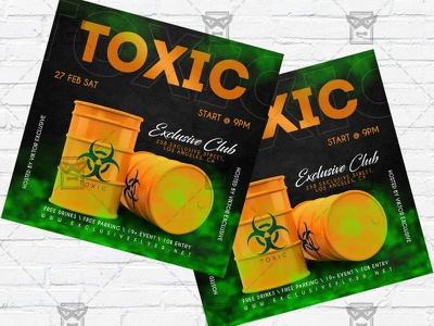 Toxic Party - Flyer PSD Template toxic party toxic night toxic flyer toxic club template toxic club flyer toxic instagram party instagram flyer facebook party club lfyer antivirus party antivirus flyer