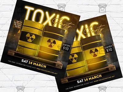 Toxic Night - Flyer PSD Template toxic party toxic night toxic flyer toxic club template toxic club flyer toxic instagram party instagram flyer facebook party club lfyer antivirus party antivirus flyer