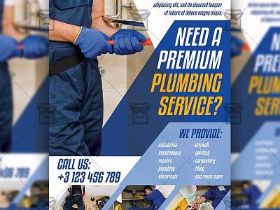 Plumber Service - Flyer PSD Template plumbing service plumbing flyer plumber service plumber flyer handyman template handyman service flyer handyman service handyman flyer design handyman flyer