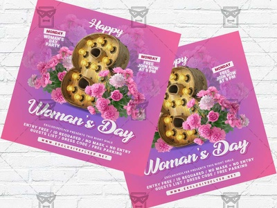 Happy Women Day - Flyer PSD Template womans day flyer psd womans day flyer womans day celebration ladies party international womans day instagram flyer design girls night out 8 march flyer 8 march celebration 8 march