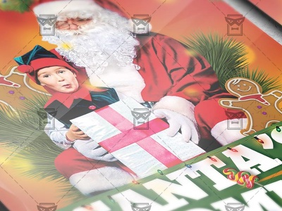 Santa's Coming Party - Seasonal A5 Flyer Template christmas toy green branch christmas tree snowman snow winter christmas eve xmas celebration christmas xmas