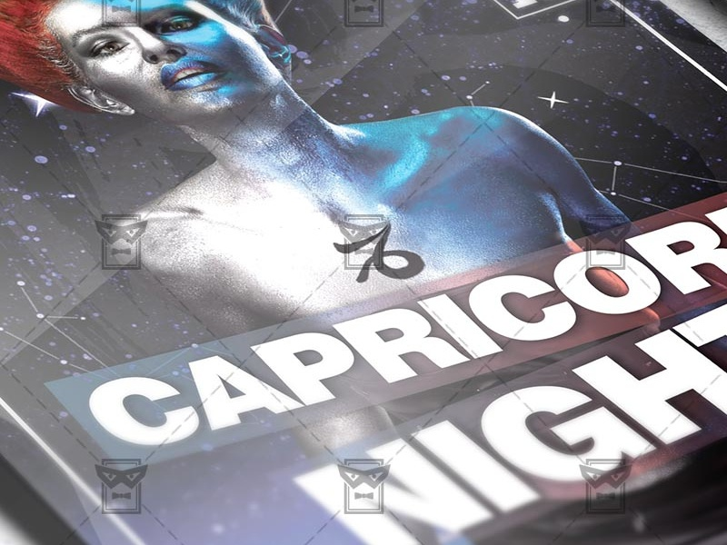 Capricorn Zodiac Night Club A5 Flyer Template By Exclusive Flyer