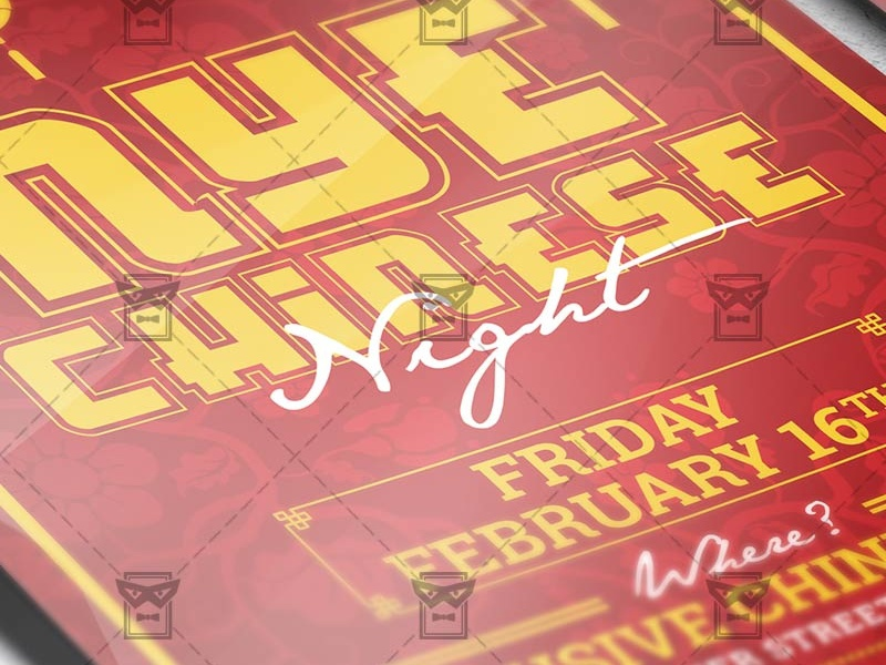 chinese new year night seasonal a5 flyer template asia chinese nye celebration holiday party winter