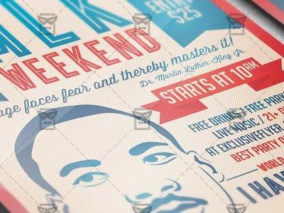 Mlk Weekend Seasonal A5 Flyer Template By Exclusive Flyer Dribbble