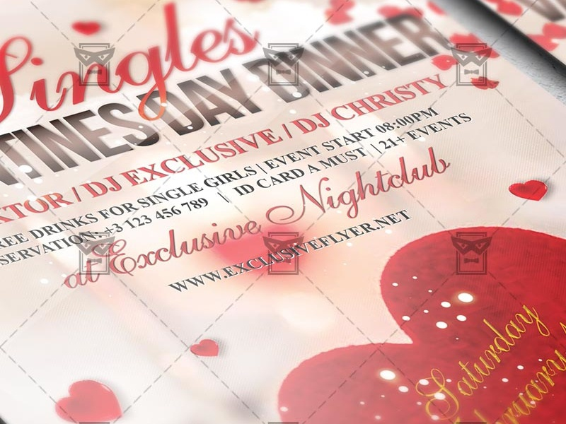 Singles Valentines Day Dinner Seasonal A5 Flyer Template By