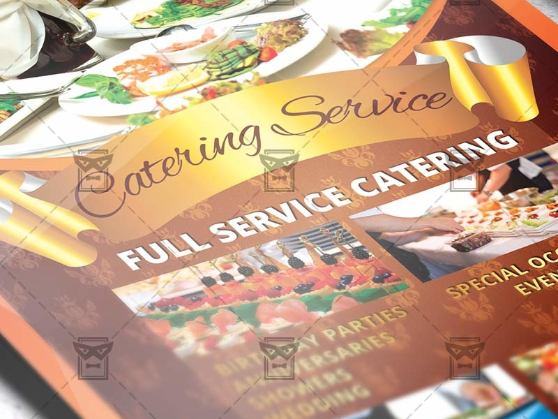 catering service food a5 flyer template by exclusive flyer