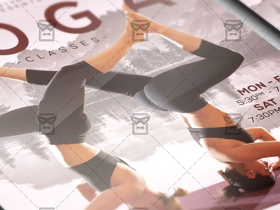 Exclusive Yoga Classes - Sport A5 Flyer Template relax meditation nature poses asan mandala hatha yoga yoga training yoga classes yoga