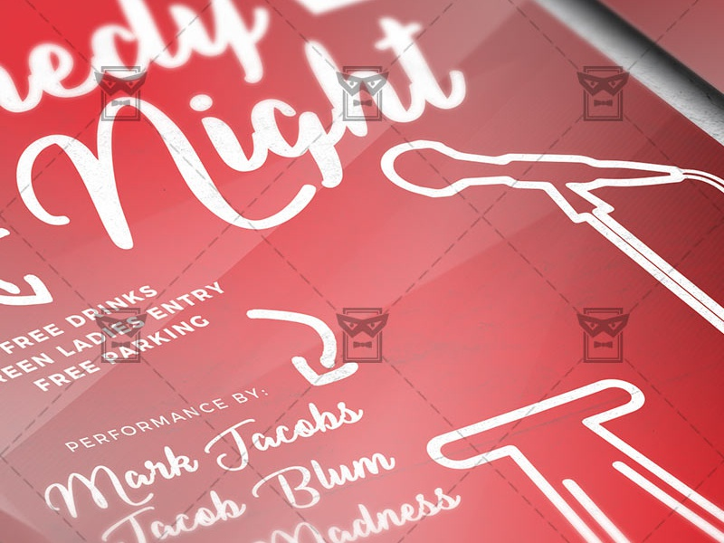 Comedy Night Show - Club A5 Flyer Template by Exclusive Flyer - Dribbble