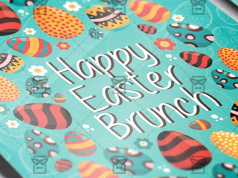 happy easter brunch seasonal a5 flyer template by exclusive flyer