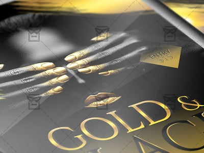 Gold and Black Party - Club A5 Flyer Template vip luxury goldies all in gold all in black gold party black party golden gold black