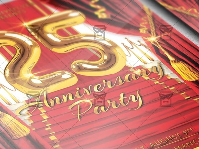 25 Anniversary Party Club A5 Flyer Template By Exclusive Flyer