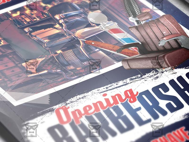 Barber Shop Opening Business A5 Flyer Template By Exclusive Flyer