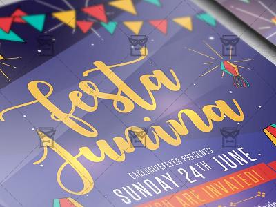 Festa Junina Flyer - Seasonal A5 Template summer event summer festival festa junina celebration festa junina day junina festa junina