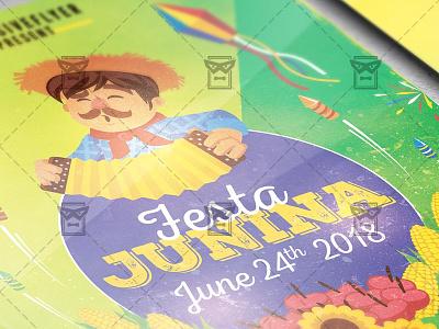 Festa Junina Poster - Seasonal A5 Template summer event summer festival festa junina celebration festa junina day junina festa junina