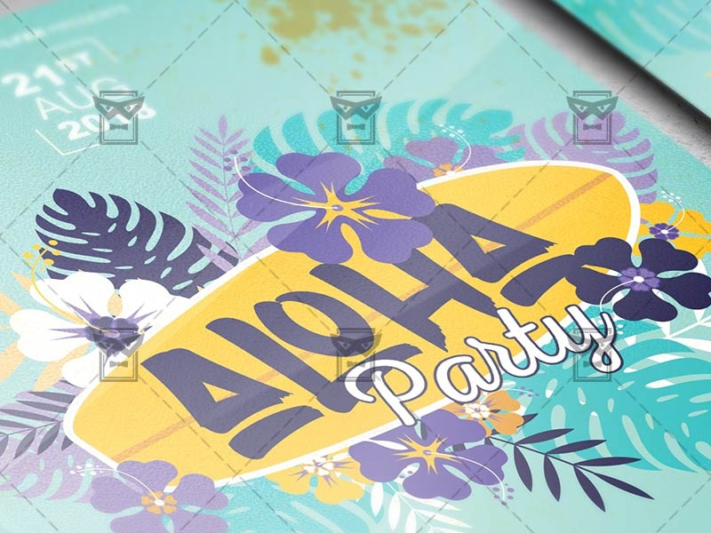 aloha party flyer seasonal a5 template by exclusive flyer