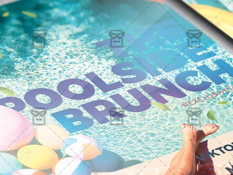 poolside brunch flyer seasonal a5 template by exclusive flyer