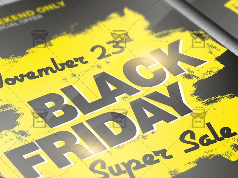 Black Friday Super Sale 2019 Flyer - Business A5 Template flash sale super sale cyber sale cyber monday flyer sale sale flyer design black friday black friday sale flyer black friday flyer design