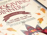 Thanksgiving Family Dinner Flyer - Autumn A5 Template