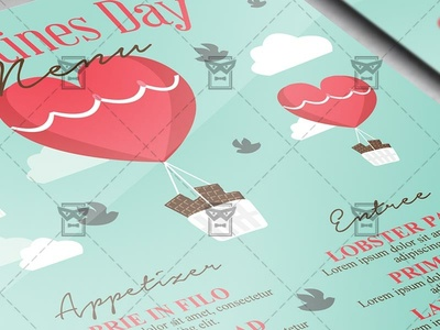 Valentines Day Menu - Valentines A5 Flyer Template