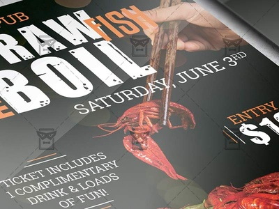 Crawfish Boil Invitation Flyer - Food A5 Template