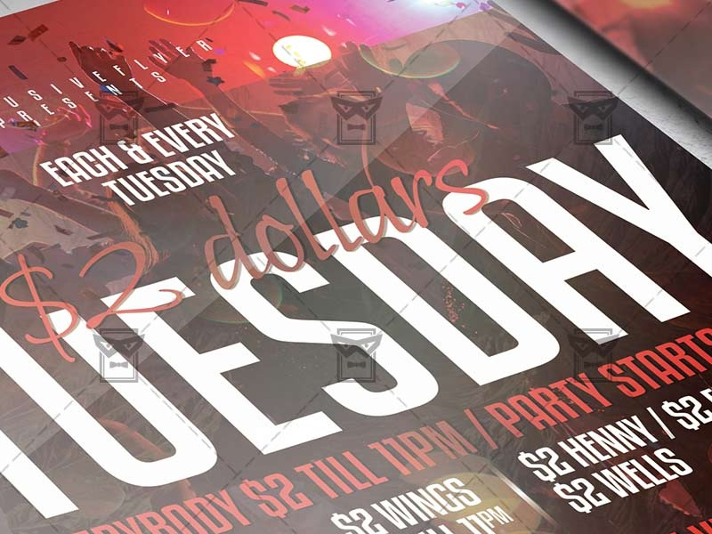 Two Dollars Tuesday - Club A5 Template club flyer design psd flyer dj party flyer dj guest flyer party flyer club party flyer happy hours happy hour flyer two dollar tuesday party