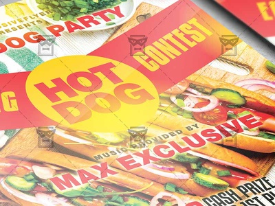 Hot Dog Eating Contest - Food A5 Template psd template psd flyer design street food flyer fast food flyer hot dog psd hot dog flyer hot dog eating competition hot dog eating contest flyer
