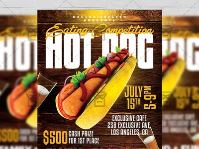 Hot Dog Eating Competition - Food A5 Template psd template psd flyer design street food flyer fast food flyer hot dog psd hot dog flyer hot dog eating competition hot dog eating contest flyer
