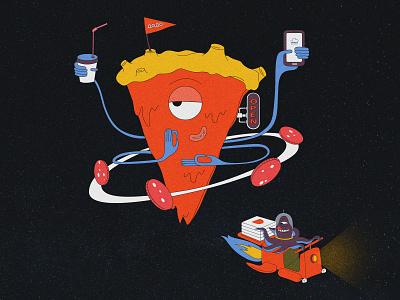 dodo planet space vector pizza planet illustration