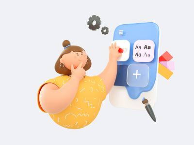 Illustration for Launcher app onboarding character octane cinema4d launcher app illustration 3d