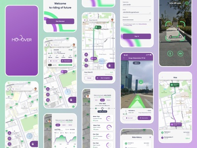 MOOVER - Electric Scooter Rent Application product map aplication rental app navigation statistic scooter booking ios ride design figma ux ui clean minimal service mobile app rent electric
