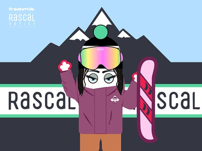 Freshmilk for Rascal Optics winter snowboard ski mountain mrmilk illustration ski google