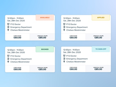 Mini Shift Card medical shift product design pastel status iphone card clean ux design app ui