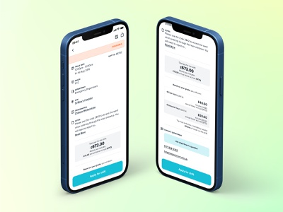 Big Shift Card date info medtech shift card price time gradient icon clean ios ux design app ui