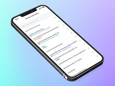 Organisation Selector status pill hospital medic app design product design gradient search selector iphone clean ios ux design app ui