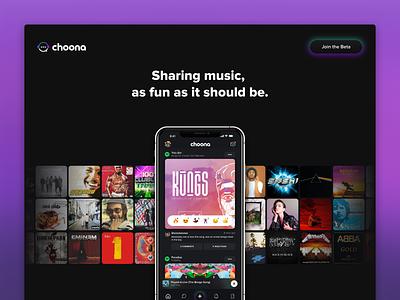 Choona Beta Landing Page blur gradient ux music choona beta marketing site marketing ui landing design web web design website landing page