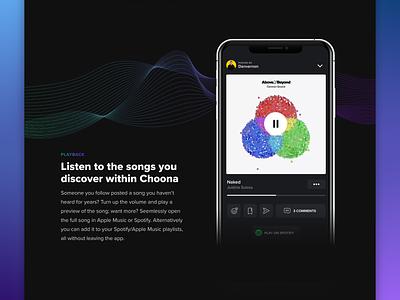 Choona Landing Page dark mode web webpage website landing page marketing social music illustration clean ux app design ui