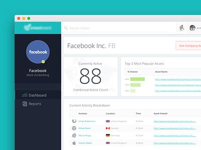Company Investment Dashboard investor market app web admin stats finance dashboard ui stocks