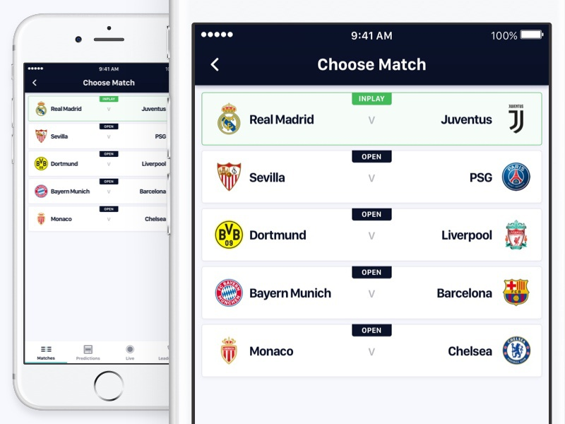 Match Selector ux ui soccer iphone ios gambling football design betting bet app